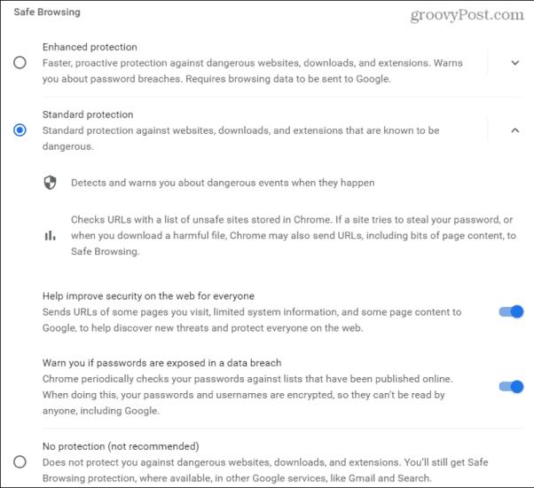 Настройки безопасного просмотра в Chrome