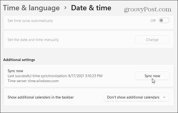 Синхронизировать настройки даты и времени