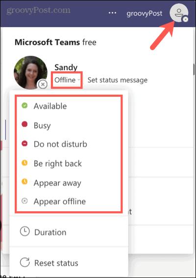 Выберите текущий статус в Microsoft Teams