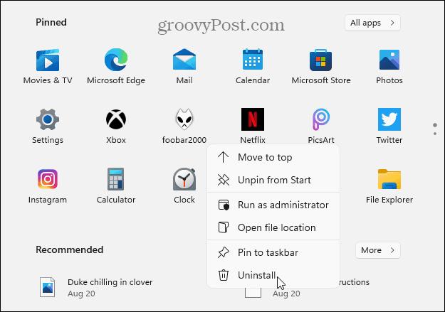 Удалить из закрепленных приложений Windows 11 Пуск