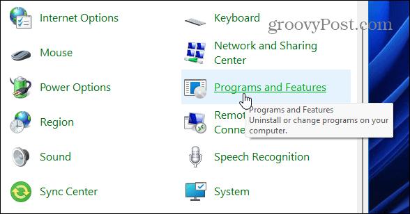 программы и функции cpl windows 11