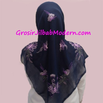 Jilbab Paris Sulam Bayangan Motif Kupu Warna Biru Dongker