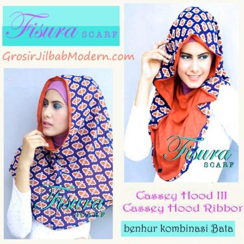 Jilbab Cassey Hood Ribbon Benhur Kombinasi Bata