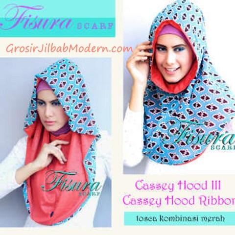 Jilbab Cassey Hood Ribbon Toska Kombinasi Merah