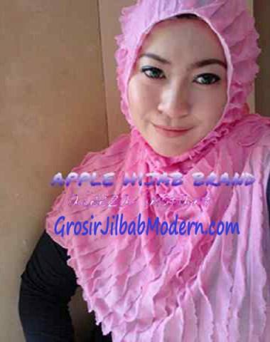 Jilbab Syria Aleeza Ruffle Merah Muda
