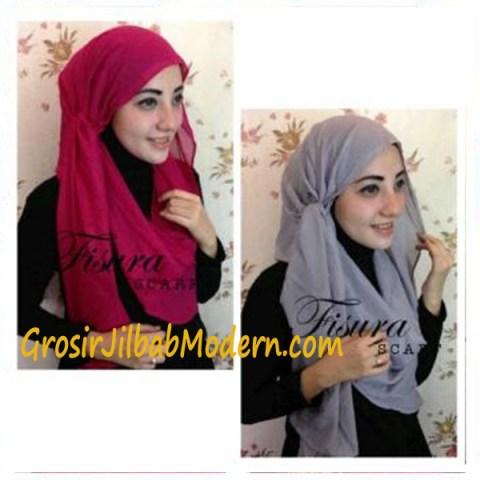 Jilbab Twisted Hoodie Fanta dan Abu-Abu
