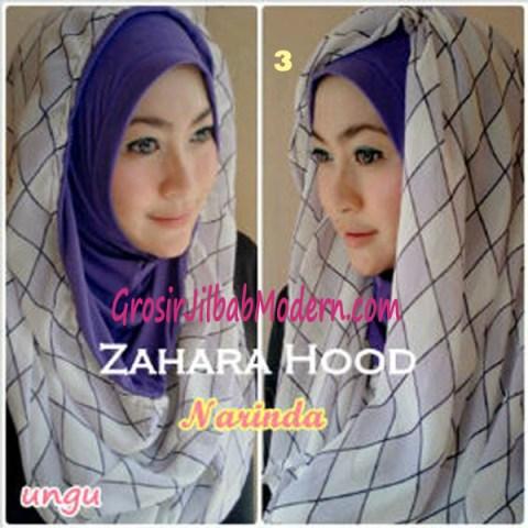 Jilbab Hoodie Instant Zahara Hood No 3 Ungu