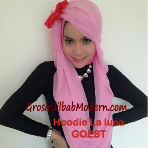 Jilbab Hoodie Laluna Moscrep Pink