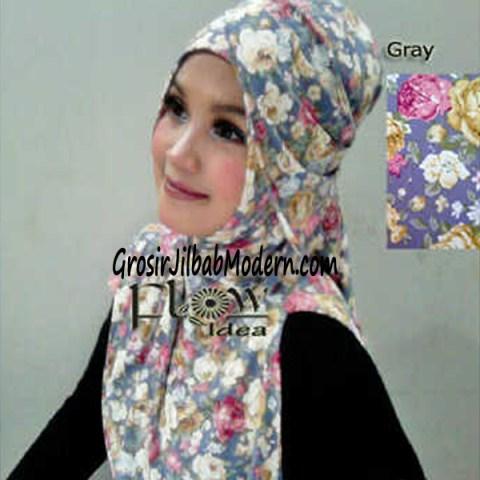 Jilbab Syria Qianne by FLOW Bunga Besar No 5 Gray