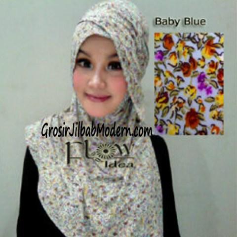 Jilbab Syria Qianne by FLOW Bunga Kecil No 5 Baby Blue