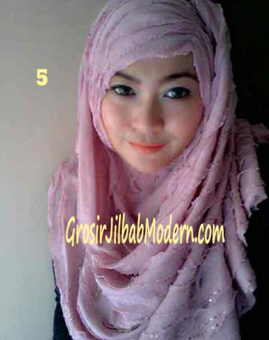 Jilbab Syrpash Ruffle Sparkling No 5 Pink