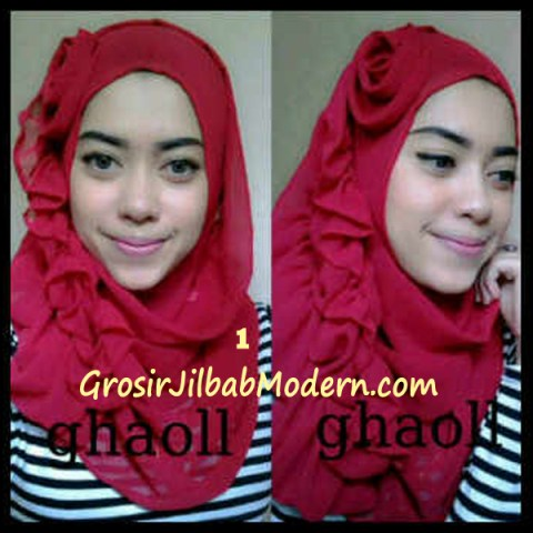 Pashmina Instant Crinkle by Ghaoll No 1 Merah