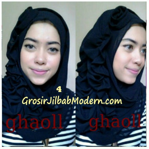 Pashmina Instant Crinkle by Ghaoll No 4 Hitam