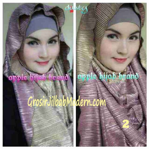 Jilbab 2 in 1 Goldee Plizt Hoodie by Apple Hijab Brand No 2 Dusty