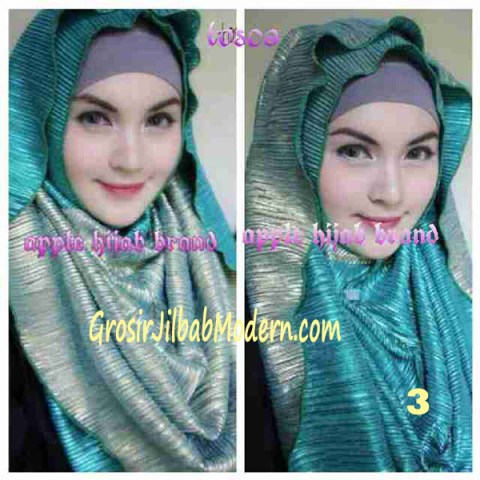 Jilbab 2 in 1 Goldee Plizt Hoodie by Apple Hijab Brand No 3 Toska