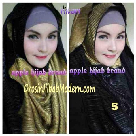 Jilbab 2 in 1 Goldee Plizt Hoodie by Apple Hijab Brand No 5 Hitam