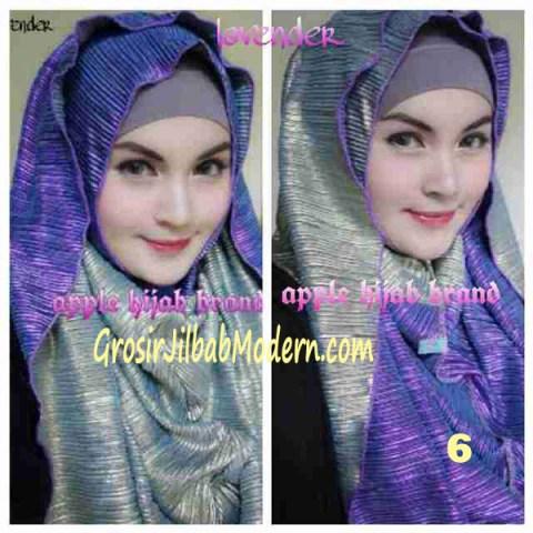 Jilbab 2 in 1 Goldee Plizt Hoodie by Apple Hijab Brand No 6 Lavender