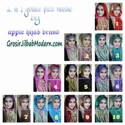 Jilbab 2 in 1 Goldee Plizt Hoodie by Apple Hijab Brand Series