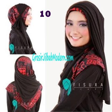 Jilbab Syria Lindsey No 10 Tampak Depan, Samping, Belakang