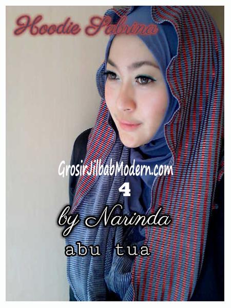 Jilbab Hoodie Bolak Balik Sabrina by Narinda No 4 Abu Tua