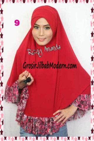 Jilbab Jumbo Brokat Stephanie No 9 Merah