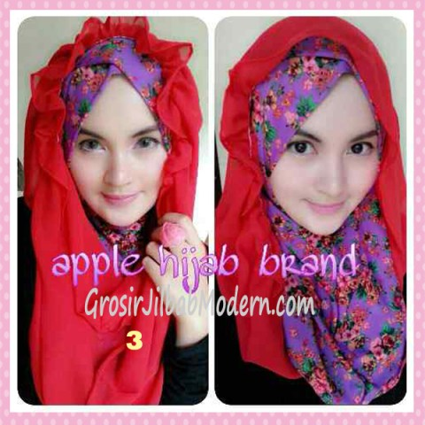 Jilbab Syria Hoodie Flowerist No 3 Merah