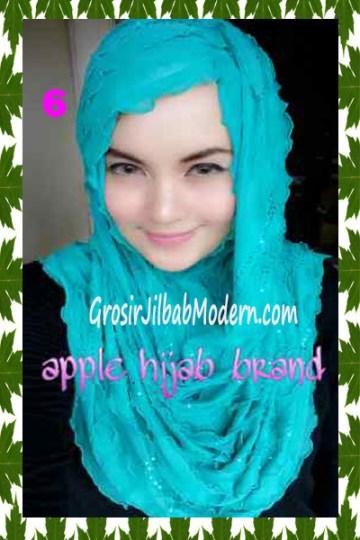 Jilbab Syrpash Aleeza Ruffle Sparkling No 6 Hijau Toska