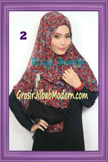 Jilbab Khimar Miriam Motif Bunga  Cantik No 2
