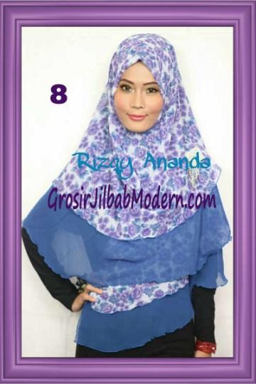 Jilbab Khimar Miriam Motif Bunga  Cantik No 8
