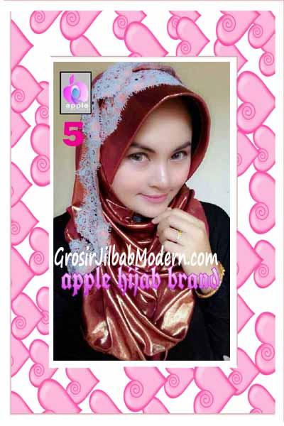 Jilbab Pesta Syria Inara Glowing by Apple Hijab Brand No 5 Marun Kecoklatan
