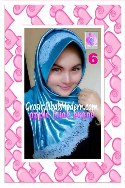 Jilbab Pesta Syria Inara Glowing by Apple Hijab Brand No 6 Biru Toska