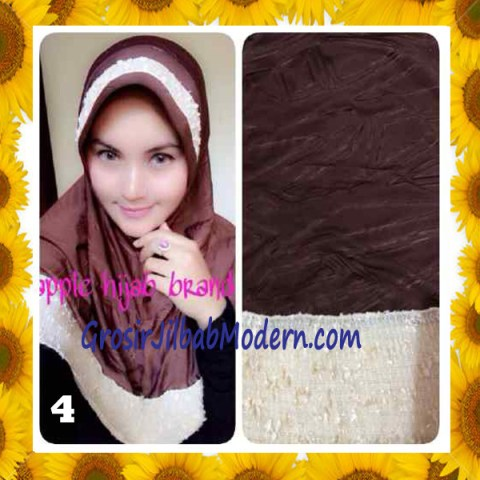 Jilbab Syria Orin Etnik Emboss by Apple Hijab Brand No 4 Coklat