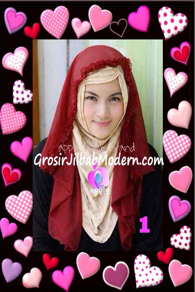 Jilbab Syria Hoodie Aesah Jolie Layer Praktis by Apple Hijab Brand No 1 Marun