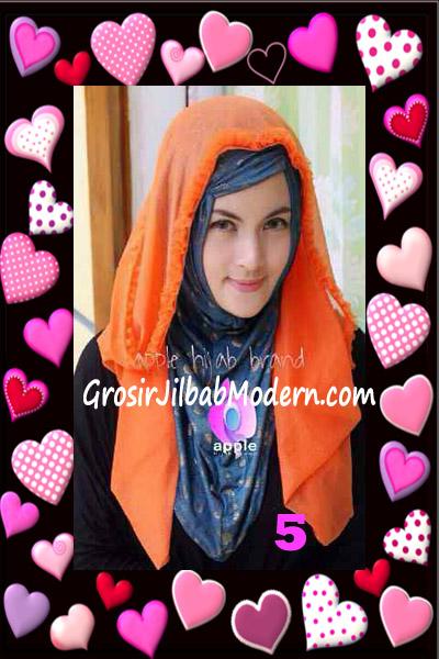 Jilbab Syria Hoodie Aesah Jolie Layer Praktis by Apple Hijab Brand No 5 Orange