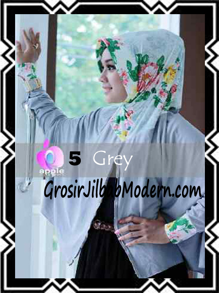 Jilbab Lengan Modern Syar'i Al Waqiah by Apple Hijab Brand No 5 Grey