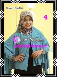 Jilbab Tangan Syar'i Modern Al Waqiah Seri 2 by Apple Hijab Brand No 4 Biru Mint
