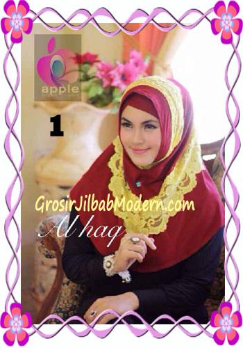 Jilbab Instant Modern Mewah Al Haq by Apple Hijab Brand No 1 Maroon