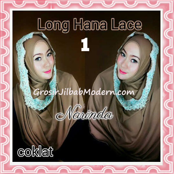 Jilbab Instant Long Hana Lace CHSI Original by Narinda No 1 Coklat