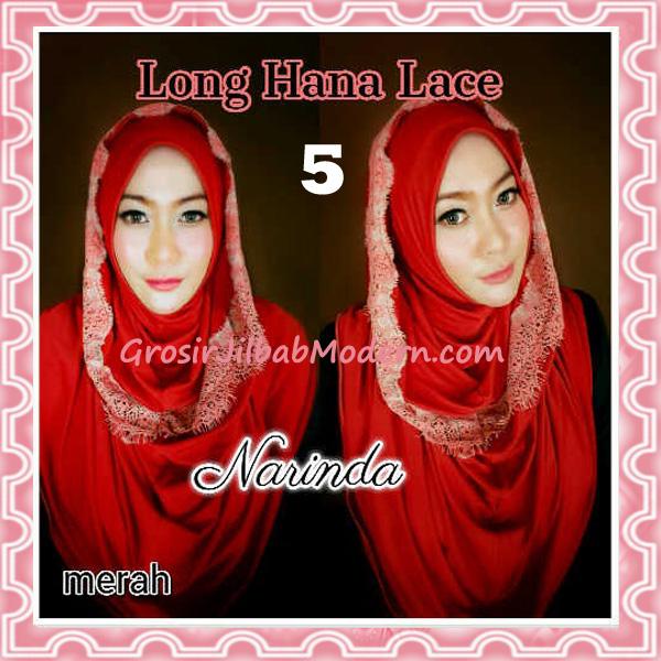 Jilbab Instant Long Hana Lace CHSI Original by Narinda No 5 Merah