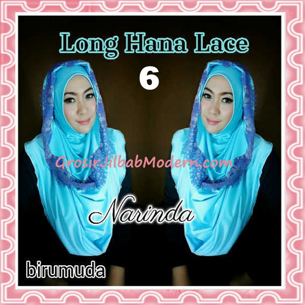 Jilbab Instant Long Hana Lace CHSI Original by Narinda No 6 Biru Muda