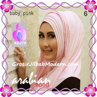 Jilbab Hoodie Instan Arabian by Apple Hijab Brand No 6 Baby Pink