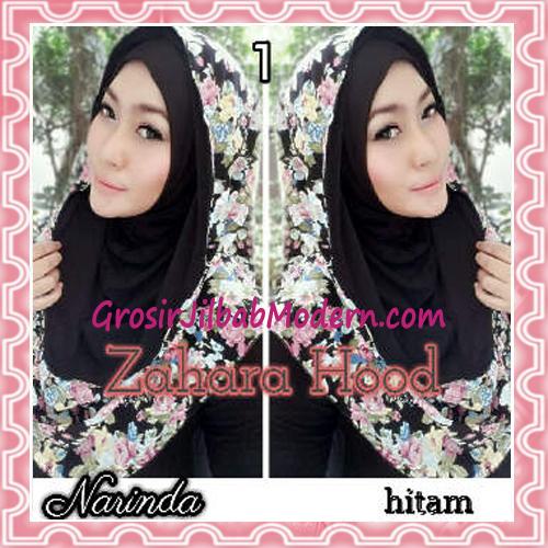 Jilbab Instant Hoodie Zahara Bunga Cantik By Narinda No 1 Hitam