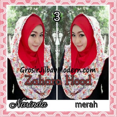 Jilbab Instant Hoodie Zahara Bunga Cantik By Narinda No 3 Merah