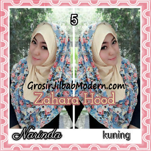 Jilbab Instant Hoodie Zahara Bunga Cantik By Narinda No 5 Kuning