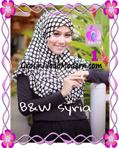 Jilbab Syria Exclusive Black and White Cantik Original By Apple Hijab Brand No 1
