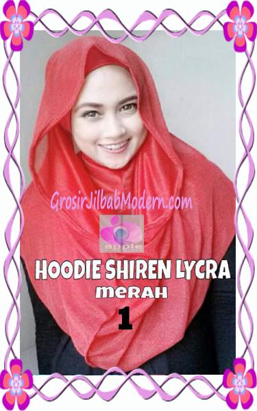 Jilbab Syria Hoodie Instant Shiren Lycra by Apple Hijab Brand No 1 Merah