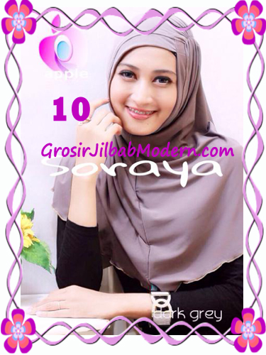 Jilbab Syria Kerut Soraya Original by Apple Hijab Brand No 10 Dark Grey