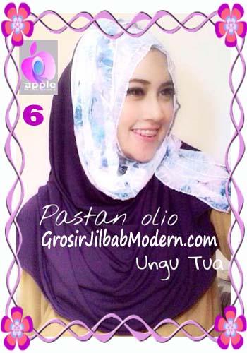 Pashmina Instant Modern Olio Original by Apple Hijab Brand No 6 Ungu Tua