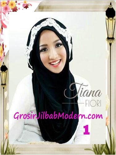 Jilbab Instant Unik Tiana Original by Fiori Design No 1 Hitam