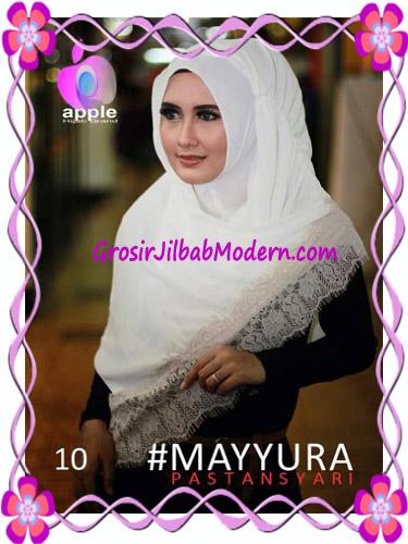 Pashmina Instan Modern Stylish Mayyura By Apple Hijab Brand No 10 Broken White